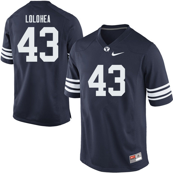 Men #43 A.J. Lolohea BYU Cougars College Football Jerseys Sale-Navy