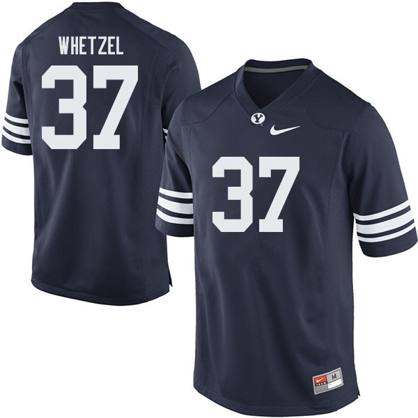 Men #37 Austin Whetzel BYU Cougars College Football Jerseys Sale-Navy