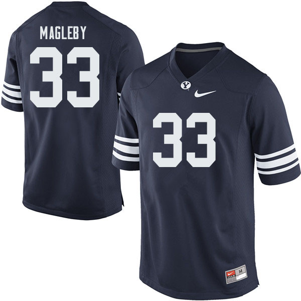 Men #33 Grayson Magleby BYU Cougars College Football Jerseys Sale-Navy