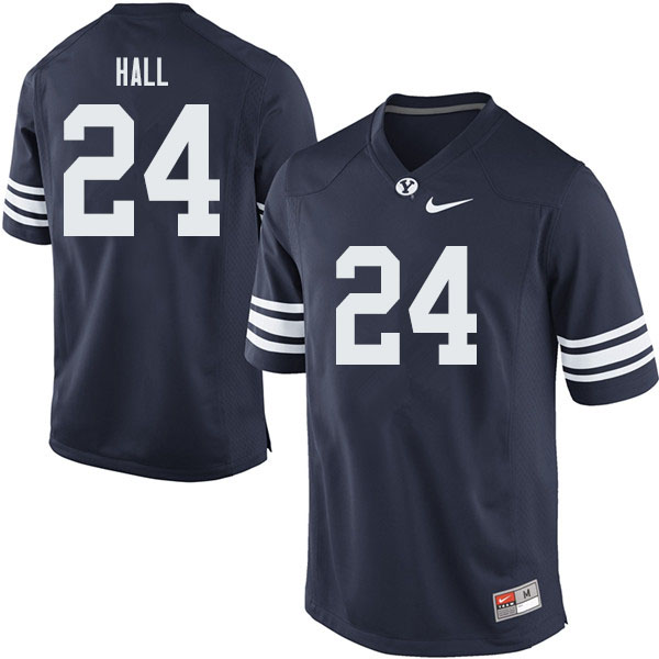 Men #24 KJ Hall BYU Cougars College Football Jerseys Sale-Navy
