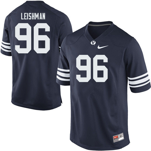 Men #96 Tanner Leishman BYU Cougars College Football Jerseys Sale-Navy