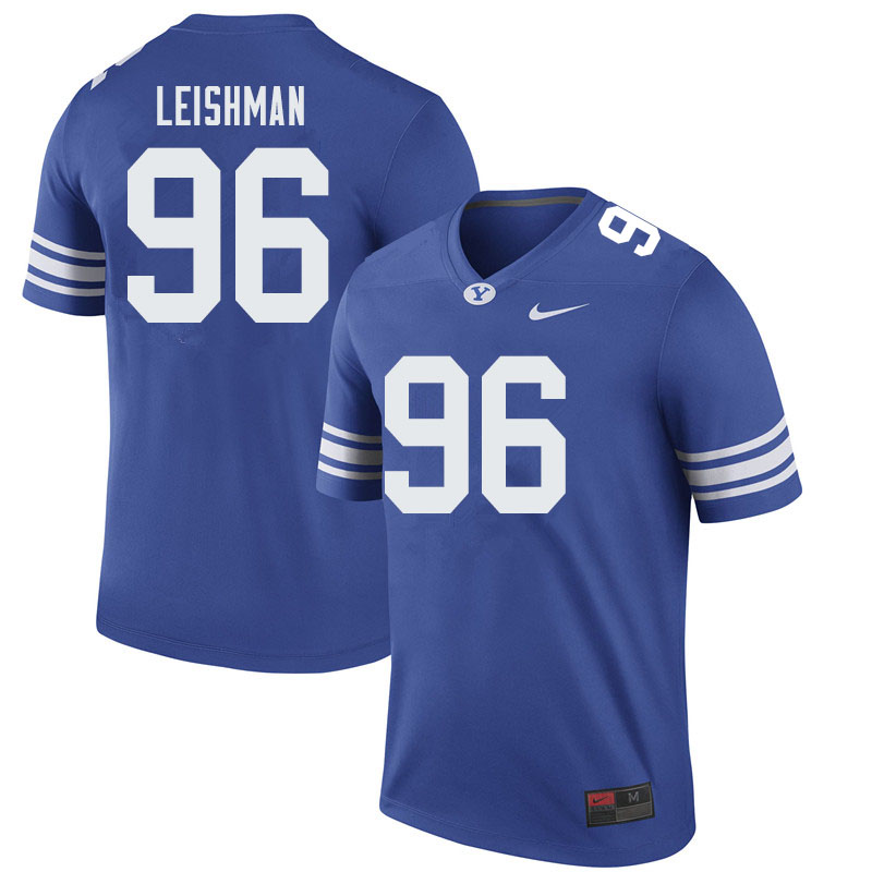 Men #96 Tanner Leishman BYU Cougars College Football Jerseys Sale-Royal