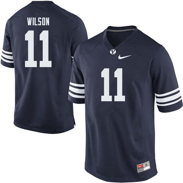 Men #11 Zach Wilson BYU Cougars College Football Jerseys Sale-Navy