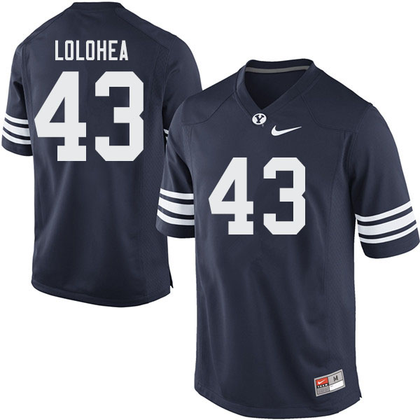 Men #43 AJ Lolohea BYU Cougars College Football Jerseys Sale-Navy