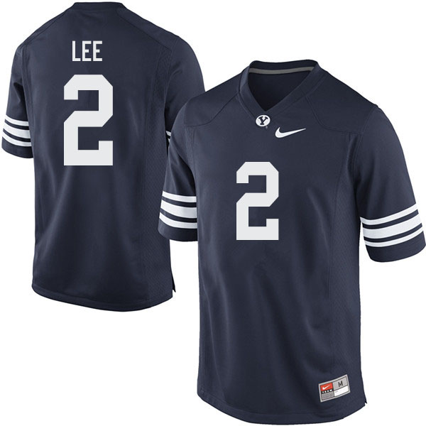 Men #2 Austin Lee BYU Cougars College Football Jerseys Sale-Navy