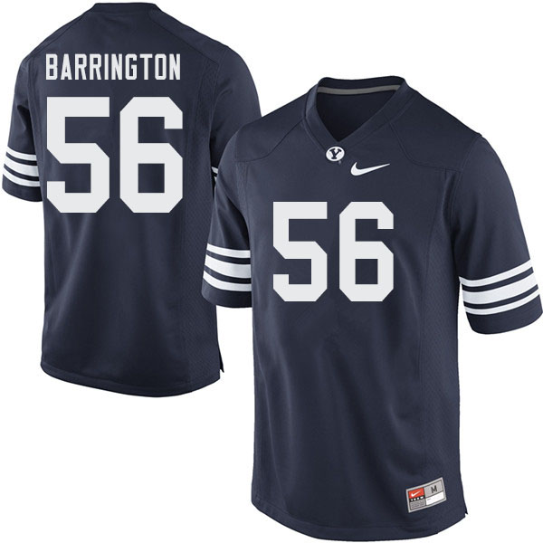 Men #56 Clark Barrington BYU Cougars College Football Jerseys Sale-Navy