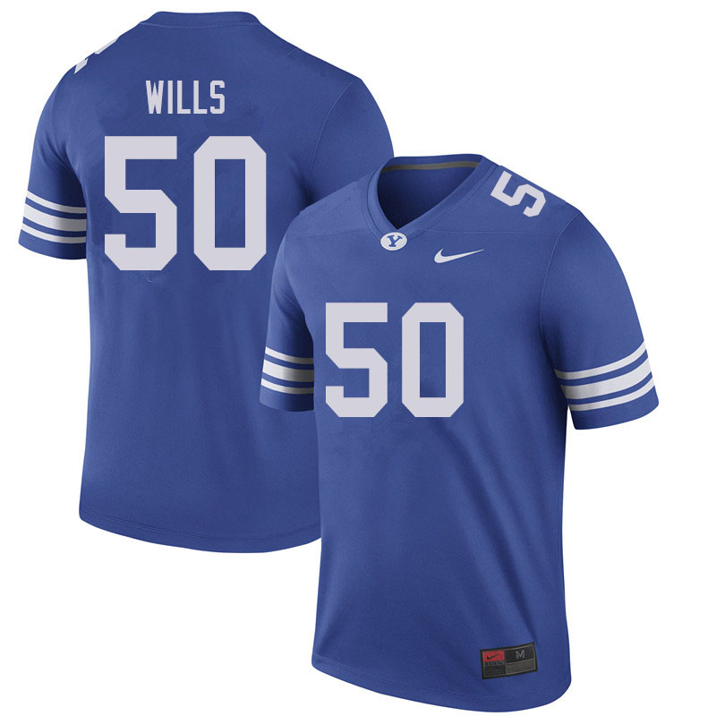 Men #50 Connor Wills BYU Cougars College Football Jerseys Sale-Royal