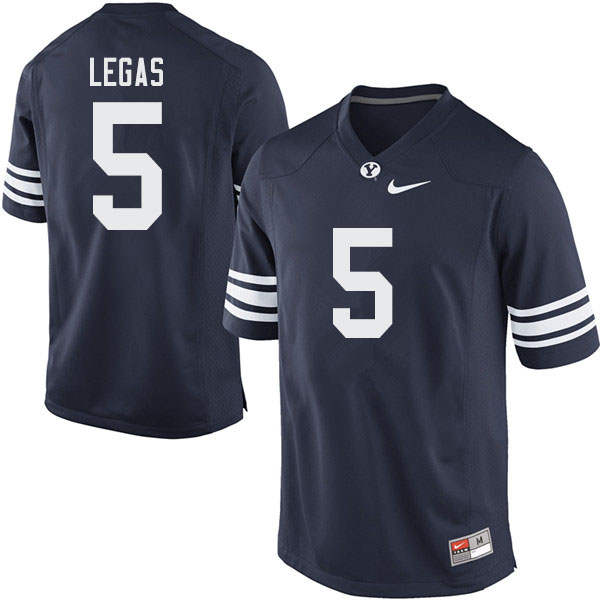 Men #5 Gunnar Legas BYU Cougars College Football Jerseys Sale-Navy