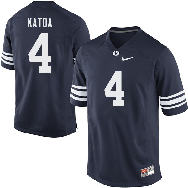 Men #4 Lopini Katoa BYU Cougars College Football Jerseys Sale-Navy