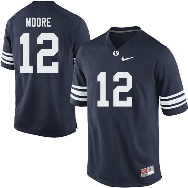 Men #12 Malik Moore BYU Cougars College Football Jerseys Sale-Navy