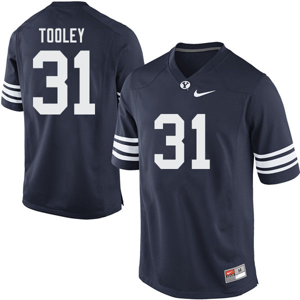 Men #31 Max Tooley BYU Cougars College Football Jerseys Sale-Navy