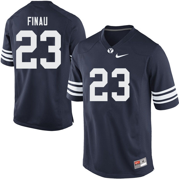 Men #23 Sione Finau BYU Cougars College Football Jerseys Sale-Navy