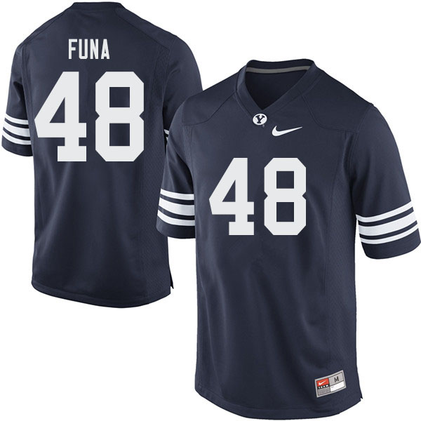 Men #48 Solofa Funa BYU Cougars College Football Jerseys Sale-Navy