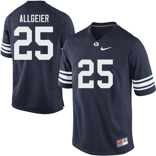 Men #25 Tyler Allgeier BYU Cougars College Football Jerseys Sale-Navy