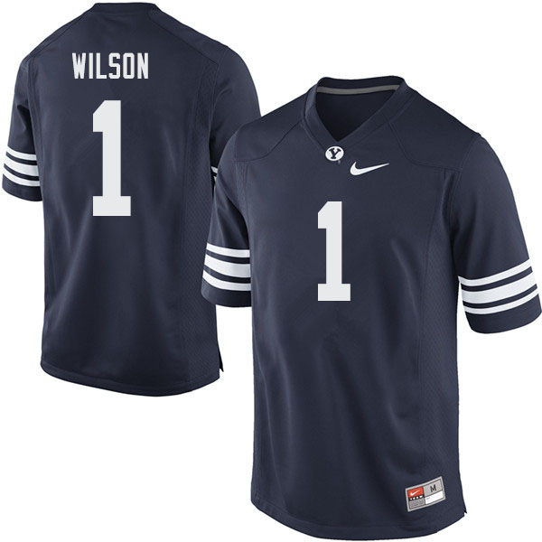 Men #1 Zach Wilson BYU Cougars College Football Jerseys Sale-Navy