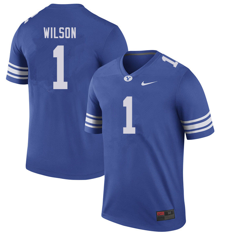 Men #1 Zach Wilson BYU Cougars College Football Jerseys Sale-Royal