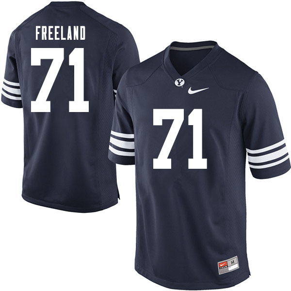 Men #71 Blake Freeland BYU Cougars College Football Jerseys Sale-Navy