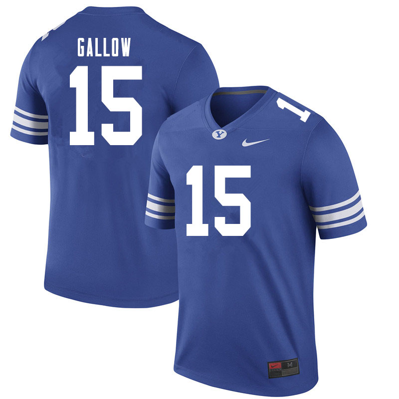 Men #15 Dimitri Gallow BYU Cougars College Football Jerseys Sale-Royal