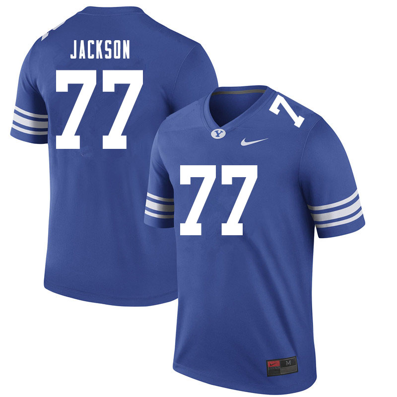 Men #77 Fisher Jackson BYU Cougars College Football Jerseys Sale-Royal