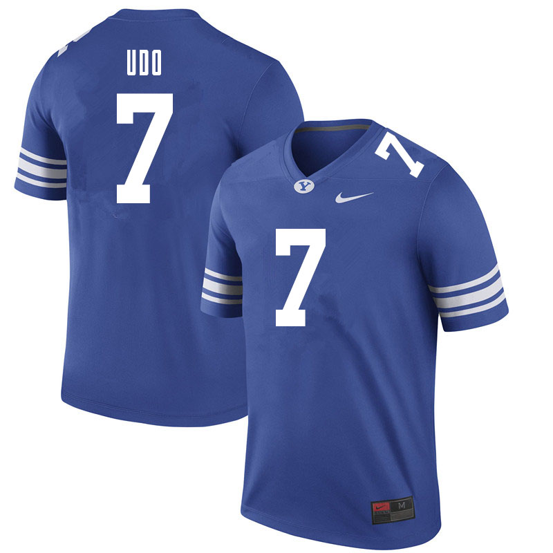 Men #7 George Udo BYU Cougars College Football Jerseys Sale-Royal