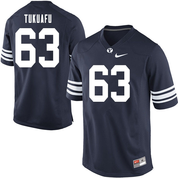 Men #63 Joe Tukuafu BYU Cougars College Football Jerseys Sale-Navy