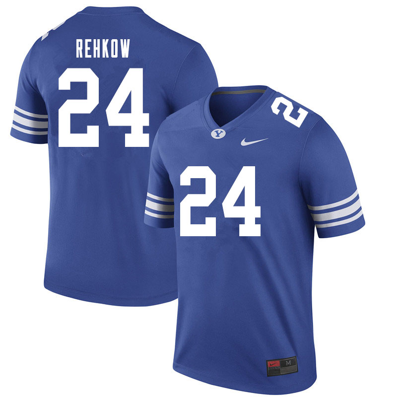 Men #24 Ryan Rehkow BYU Cougars College Football Jerseys Sale-Royal