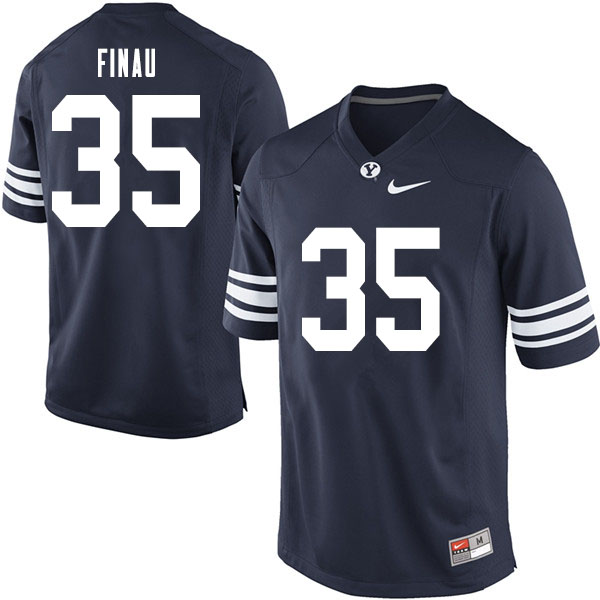 Men #35 Sione Finau BYU Cougars College Football Jerseys Sale-Navy