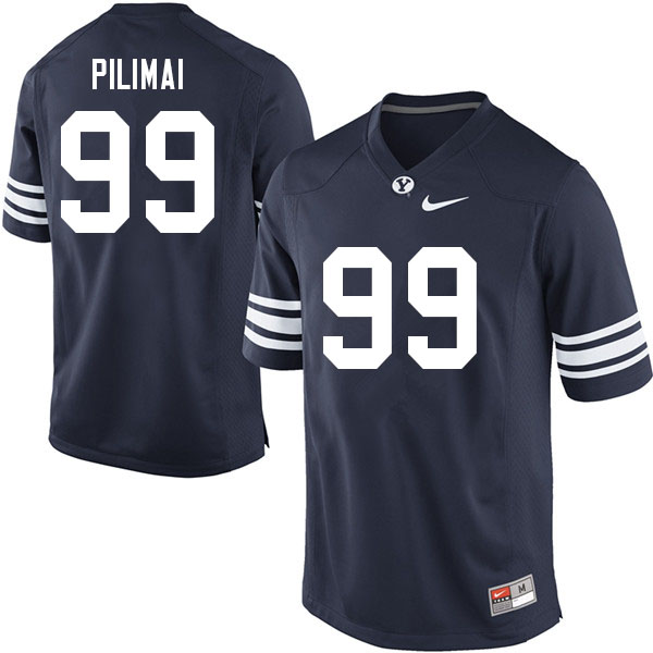 Men #99 Alema Pilimai BYU Cougars College Football Jerseys Sale-Navy