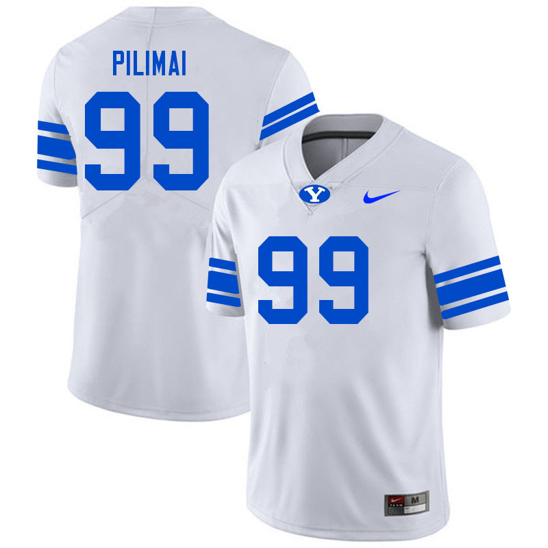 Men #99 Alema Pilimai BYU Cougars College Football Jerseys Sale-White