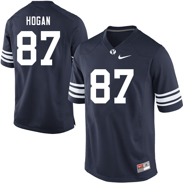 Men #87 Britton Hogan BYU Cougars College Football Jerseys Sale-Navy
