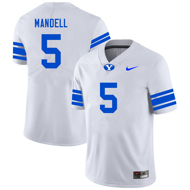 Men #5 D'Angelo Mandell BYU Cougars College Football Jerseys Sale-White
