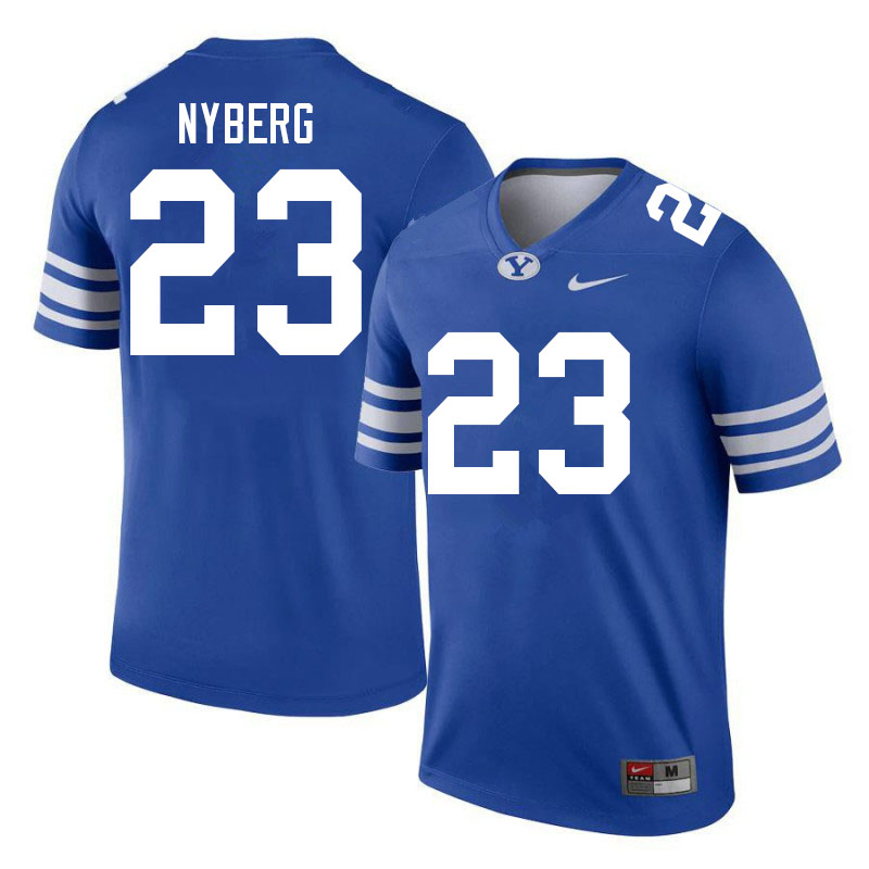 Men #23 Hobbs Nyberg BYU Cougars College Football Jerseys Sale-Royal