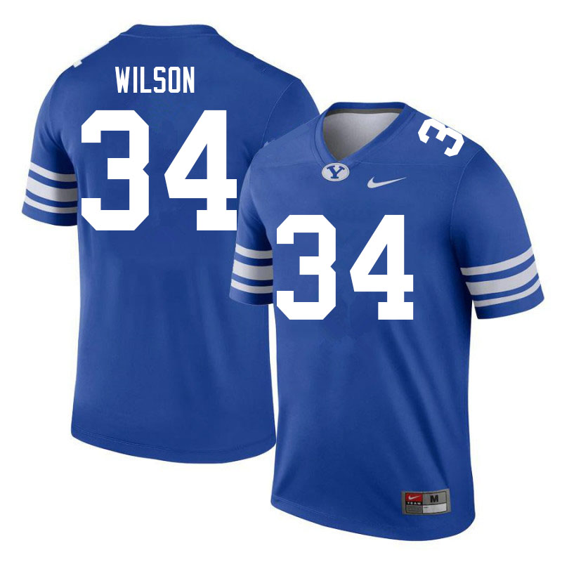 Men #34 Josh Wilson BYU Cougars College Football Jerseys Sale-Royal