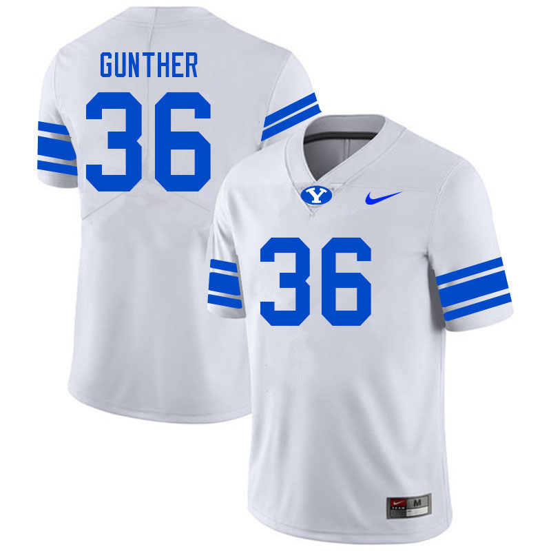 Men #36 Talmage Gunther BYU Cougars College Football Jerseys Sale-White