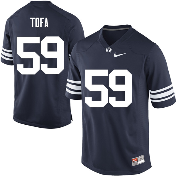 Men #59 Alden Tofa BYU Cougars College Football Jerseys Sale-Navy