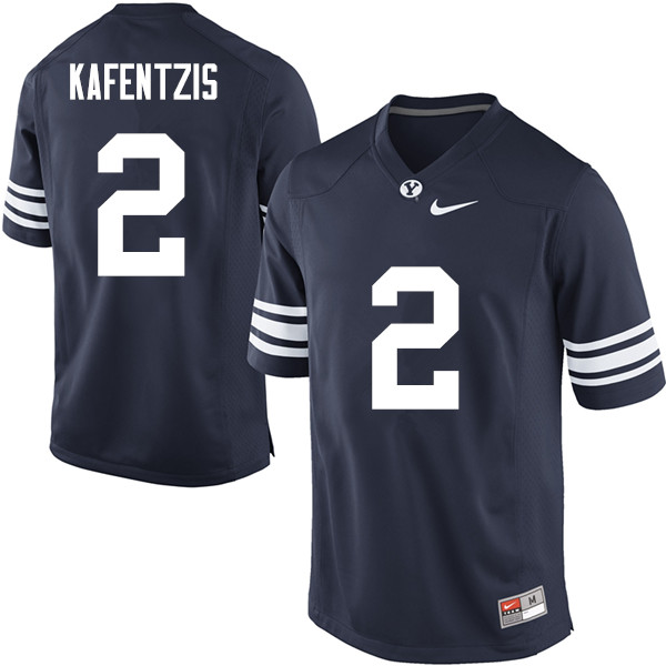 Men #2 Austin Kafentzis BYU Cougars College Football Jerseys Sale-Navy
