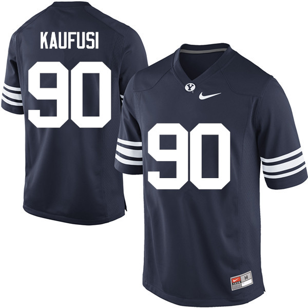 Men #90 Bronson Kaufusi BYU Cougars College Football Jerseys Sale-Navy