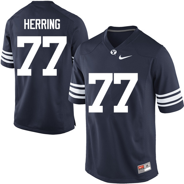 Men #77 Chandon Herring BYU Cougars College Football Jerseys Sale-Navy