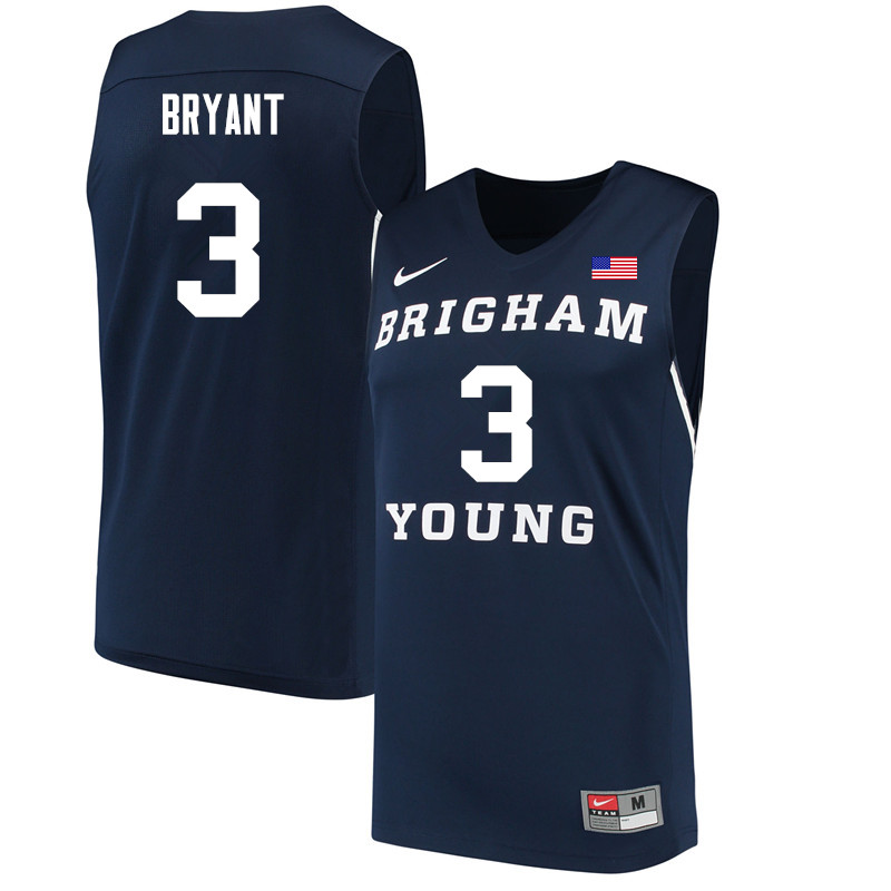 Men #3 Elijah Bryant BYU Cougars College Basketball Jerseys Sale-Navy