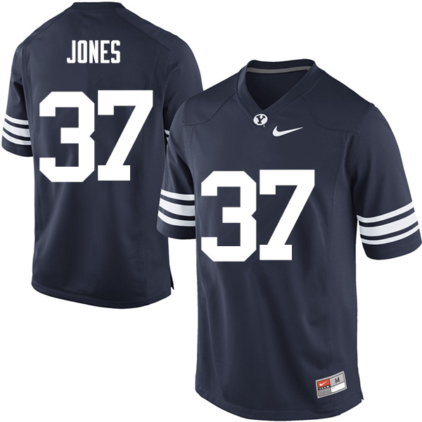 Men #37 Grant Jones BYU Cougars College Football Jerseys Sale-Navy