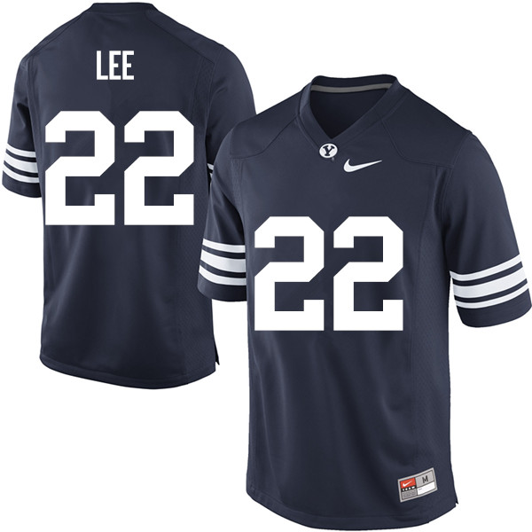 Men #22 Hiva Lee BYU Cougars College Football Jerseys Sale-Navy
