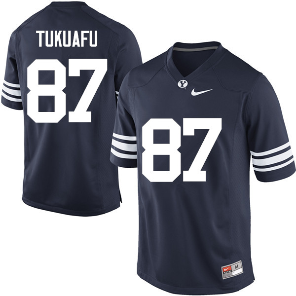 Men #87 Joe Tukuafu BYU Cougars College Football Jerseys Sale-Navy