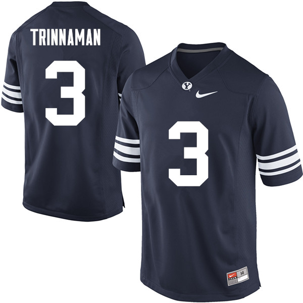 Men #3 Jonah Trinnaman BYU Cougars College Football Jerseys Sale-Navy