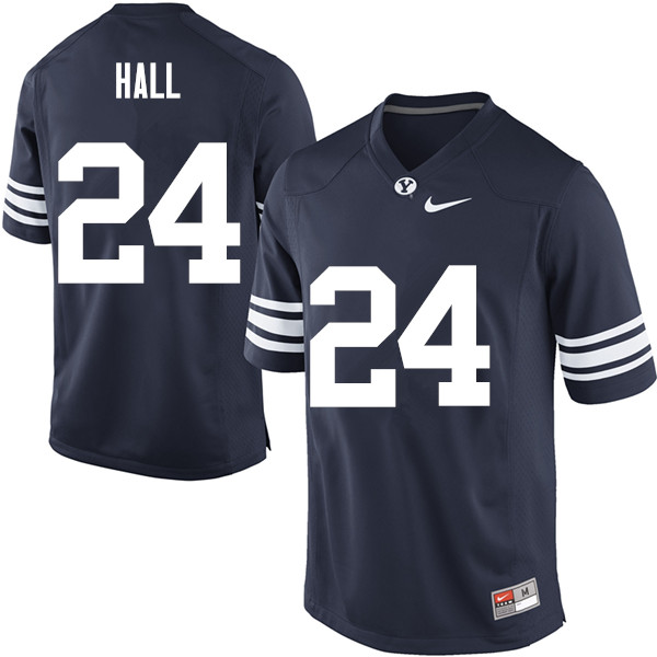 Men #24 K.J. Hall BYU Cougars College Football Jerseys Sale-Navy