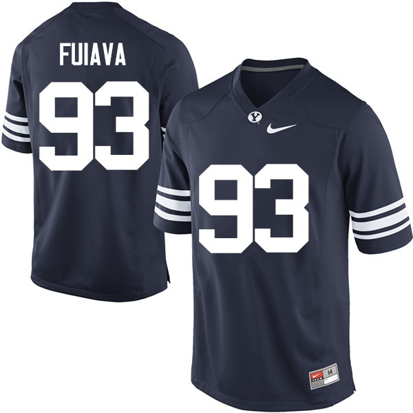Men #93 Kainoa Fuiava BYU Cougars College Football Jerseys Sale-Navy