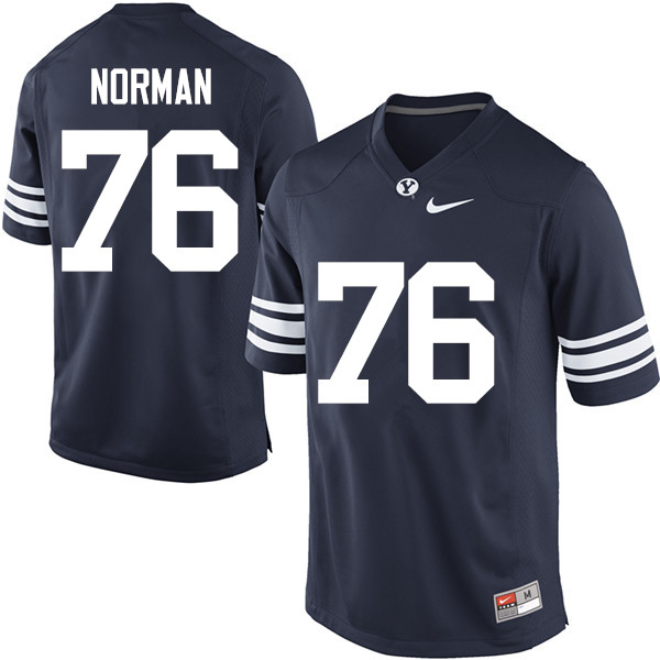 Men #76 Keyan Norman BYU Cougars College Football Jerseys Sale-Navy