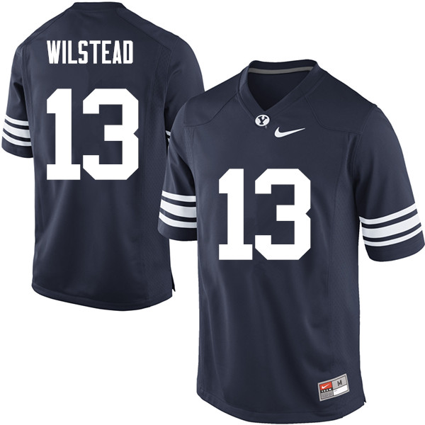 Men #13 Kody Wilstead BYU Cougars College Football Jerseys Sale-Navy