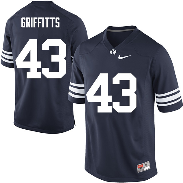Men #43 Kyle Griffitts BYU Cougars College Football Jerseys Sale-Navy