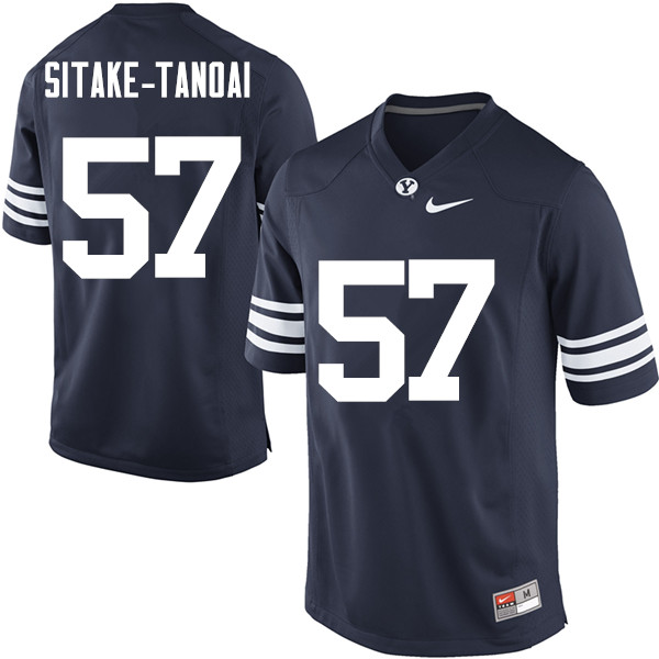 Men #57 LeRoy Sitake-Tanoai BYU Cougars College Football Jerseys Sale-Navy