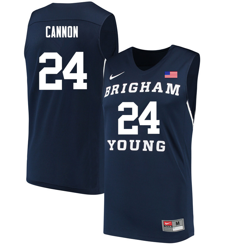 Men #24 McKay Cannon BYU Cougars College Basketball Jerseys Sale-Navy